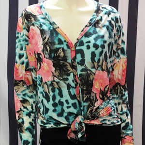 Mint Floral/Animal Print Button-up Top
